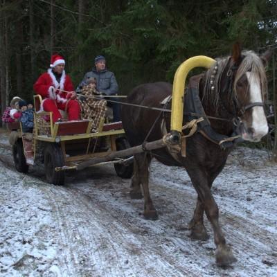 eesti raskeveomära Naeratus Maria talus lastele lõbusõitu tegemas